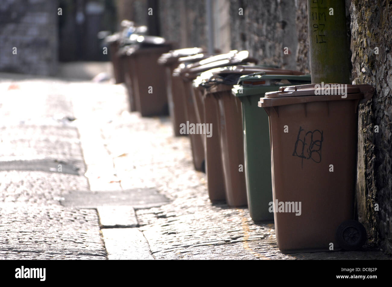 Brown rubbish bins in a back lane of Plymouth,Devon - Stock Image