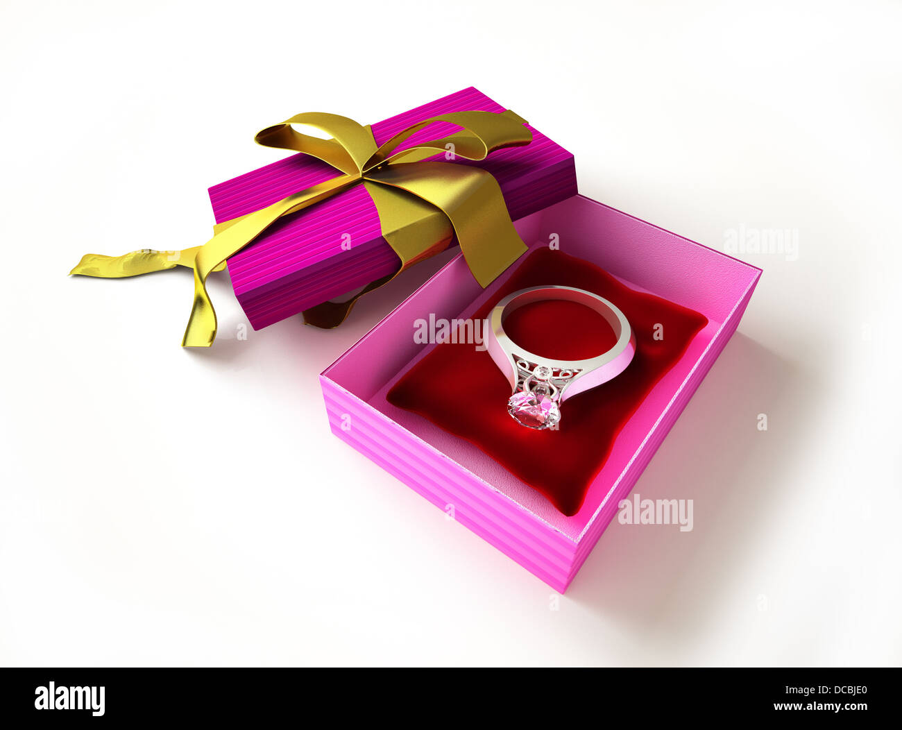 Gold Ring Diamond On Red Stock Photos & Gold Ring Diamond On Red ...