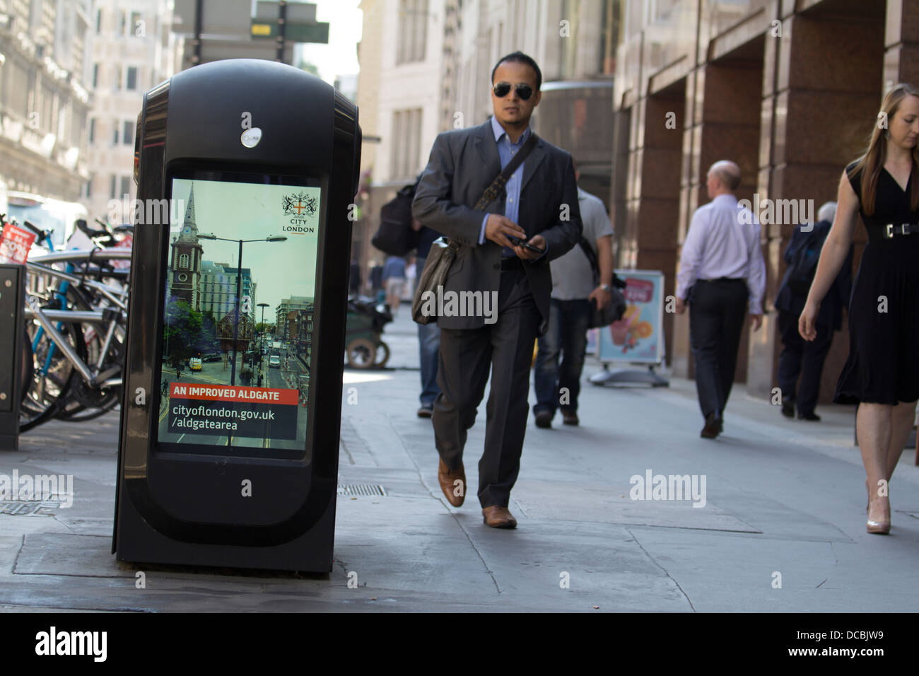 Smart bins city of London wifi wi-fi sniffing smart bins in Moorgate London, with advertising - Stock Image