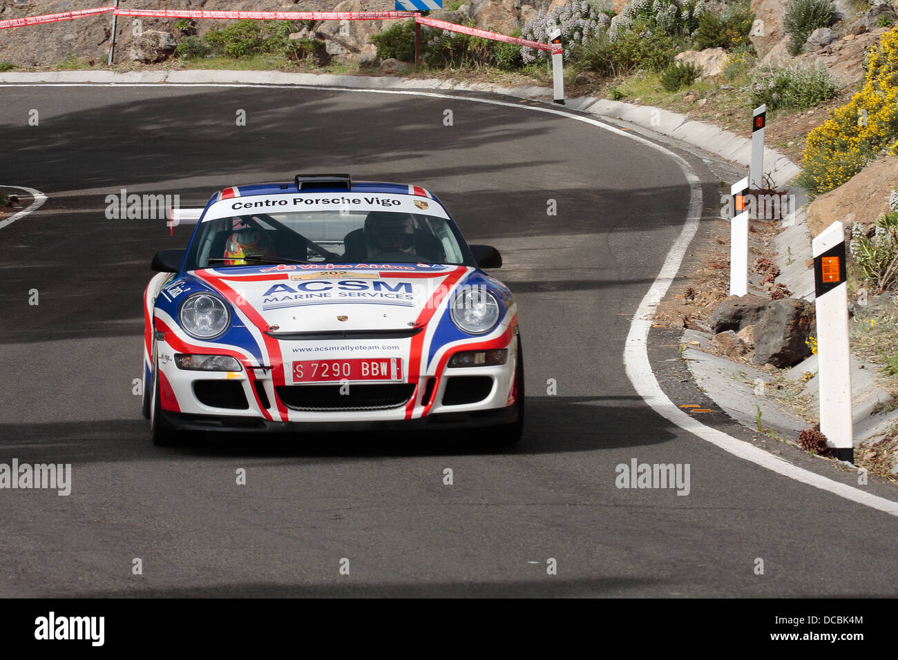 Xevi Pons and Alex Haro competing in the ERC Rally Islas Canarias, in Gran Canaria. - Stock Image