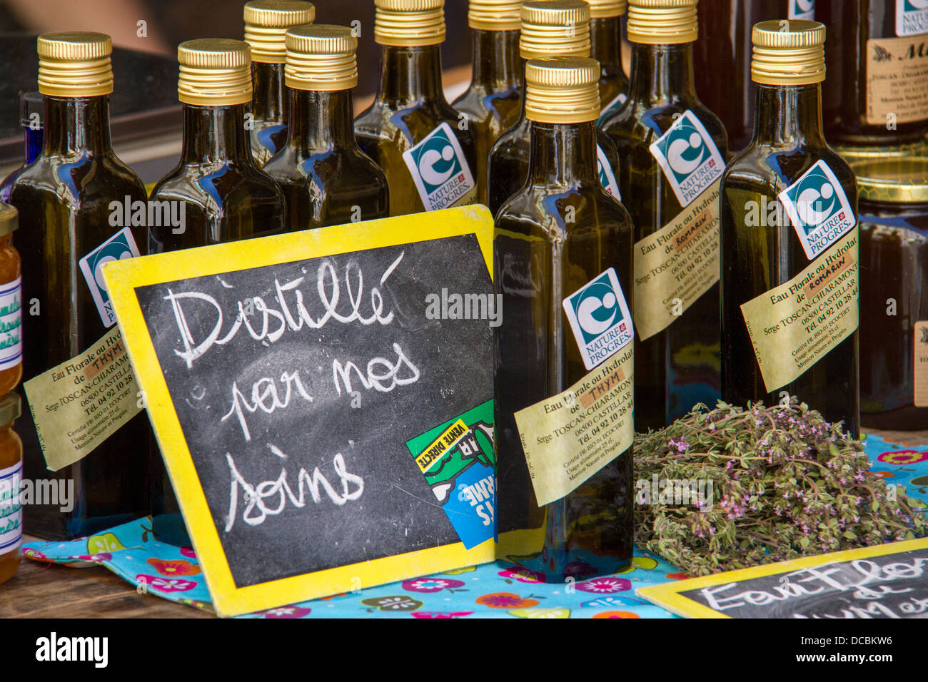 Locally produced olive oil  - 'Made with loving care'. - Stock Image