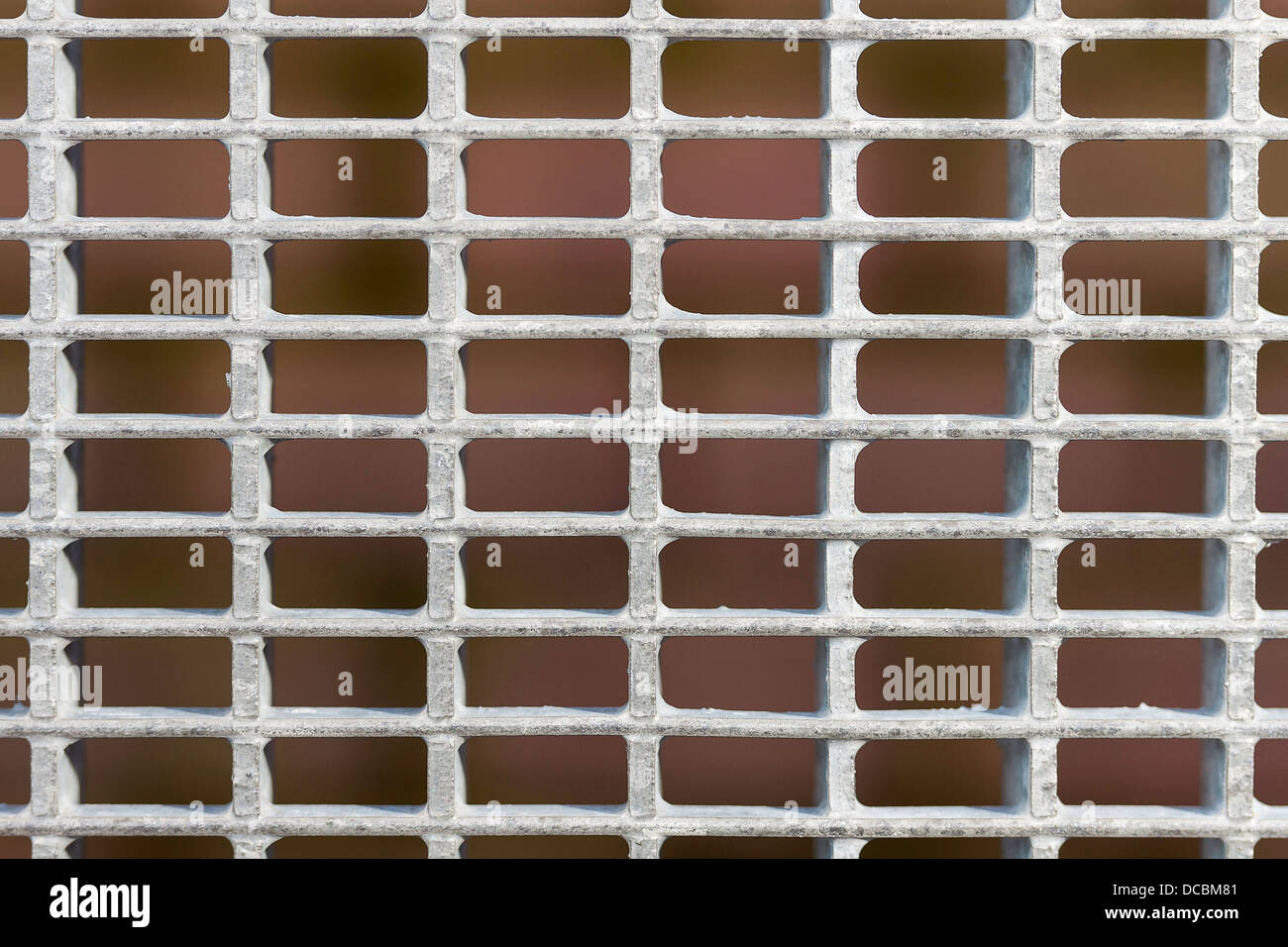 Galvanized steel grid close up - Stock Image