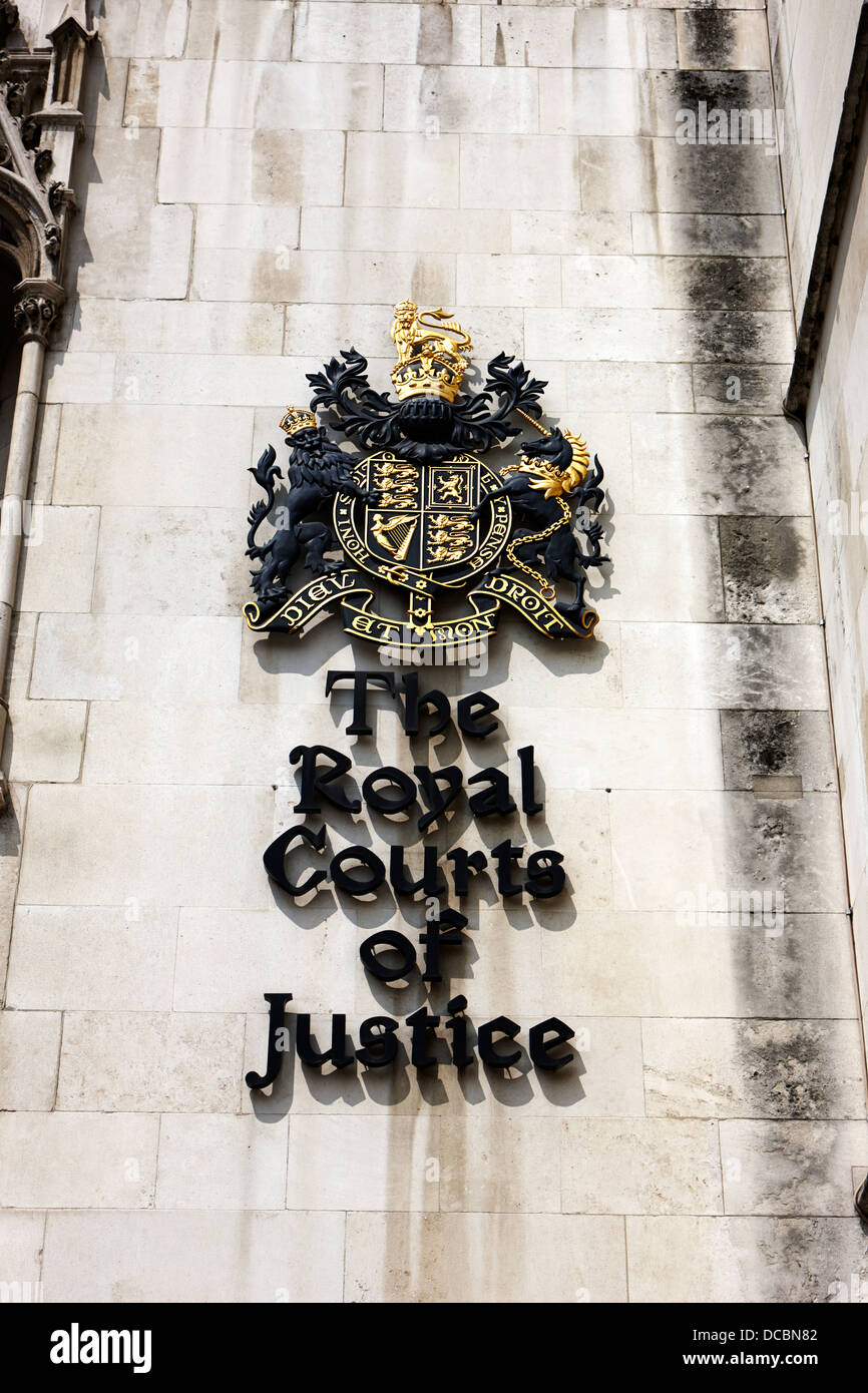 the royal courts of justice law courts central London England UK - Stock Image