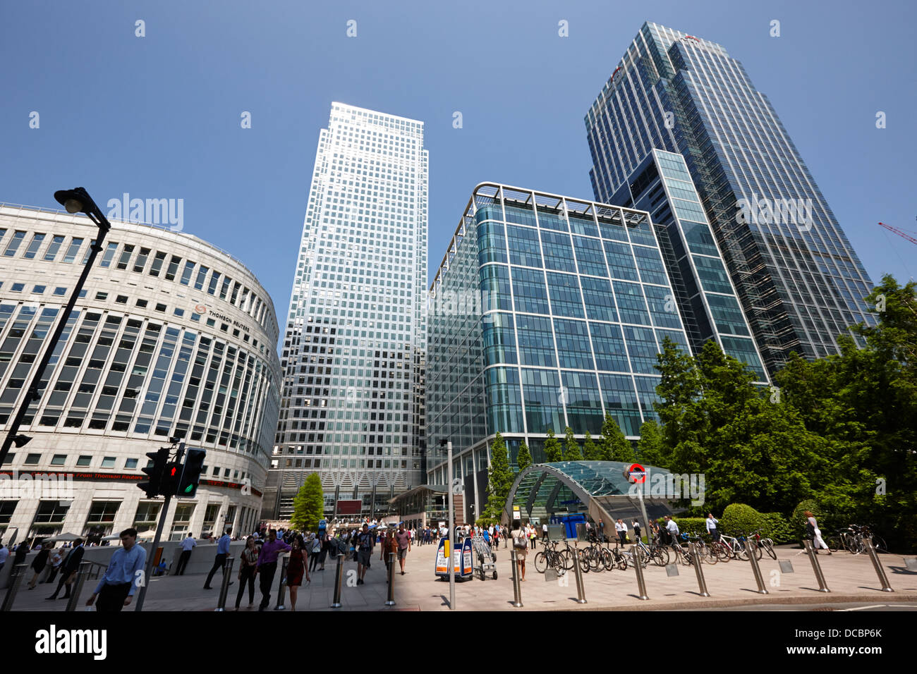 one canada square skyscraper in canary wharf London England UK - Stock Image