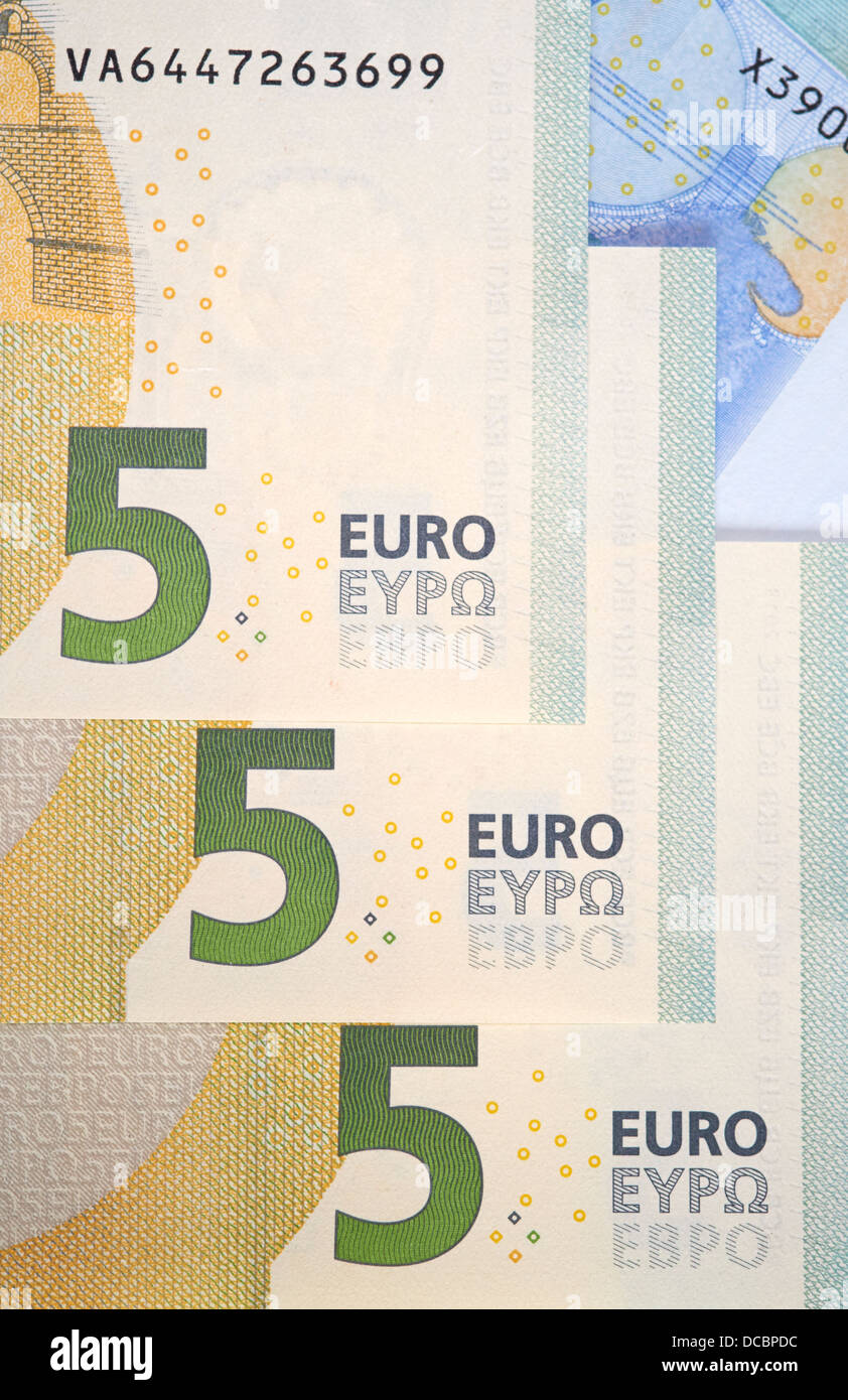 European Bank notes, Euro currency from Europe, Euros. - Stock Image