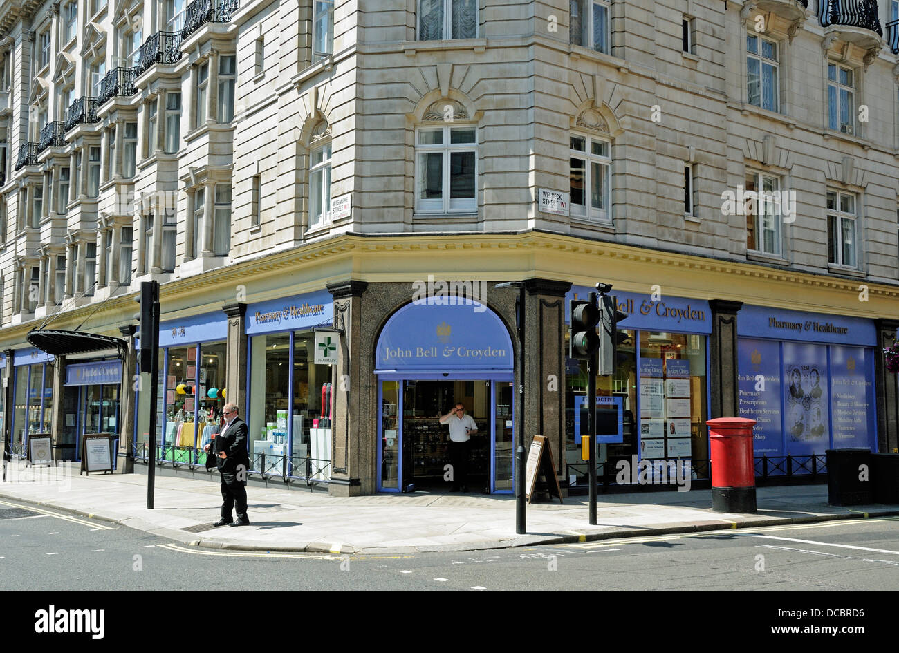 John Bell & Croydon Pharmacy Wigmore Street Westminster London England UK - Stock Image