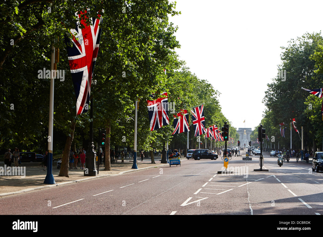union flags lining the mall towards buckingham palace London England UK - Stock Image