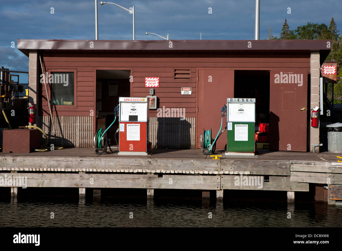 unleaded gasoline and diesel fuel pumps, rock harbor, isle royaleunleaded gasoline and diesel fuel pumps, rock harbor, isle royale national park, michigan, united states of america