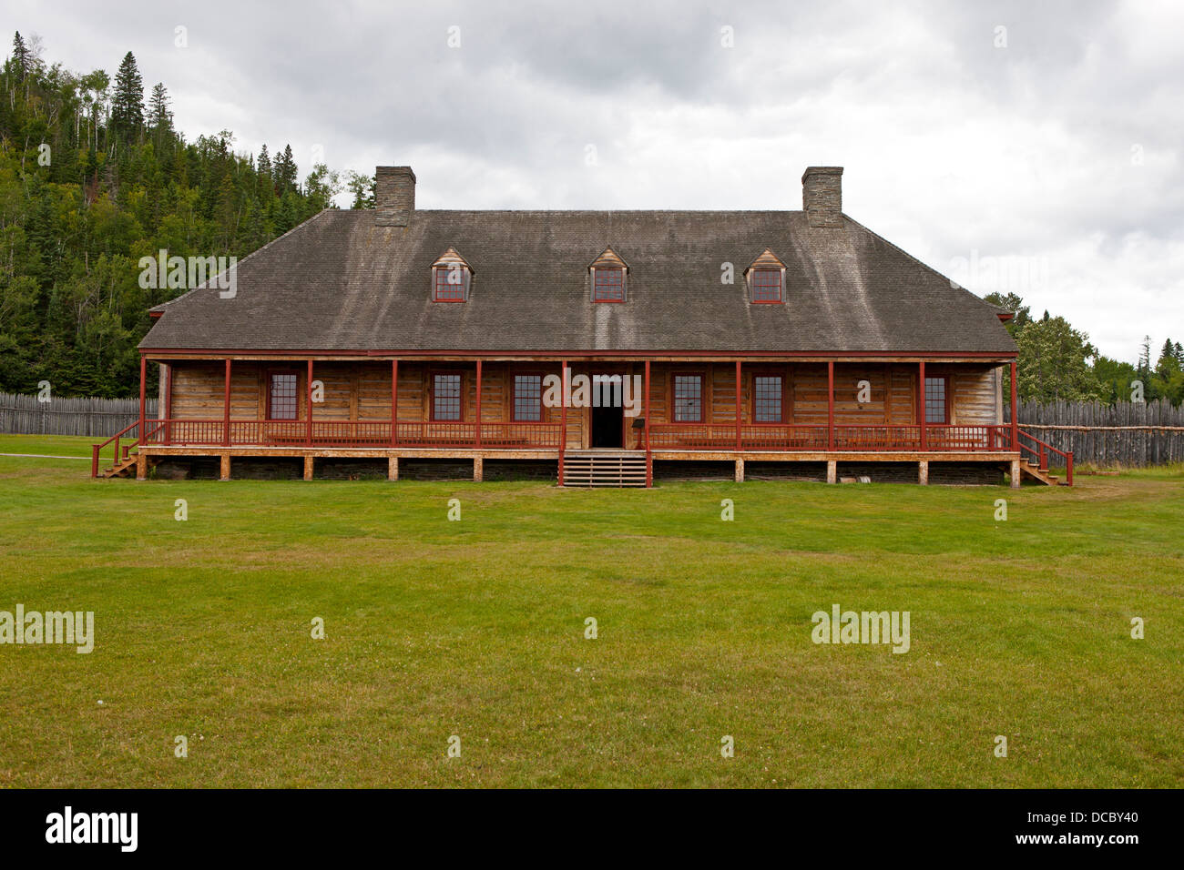 Exterior of the Great Hall, Grand Portage National Monument, Grand Portage, Minnesota, United States of America - Stock Image