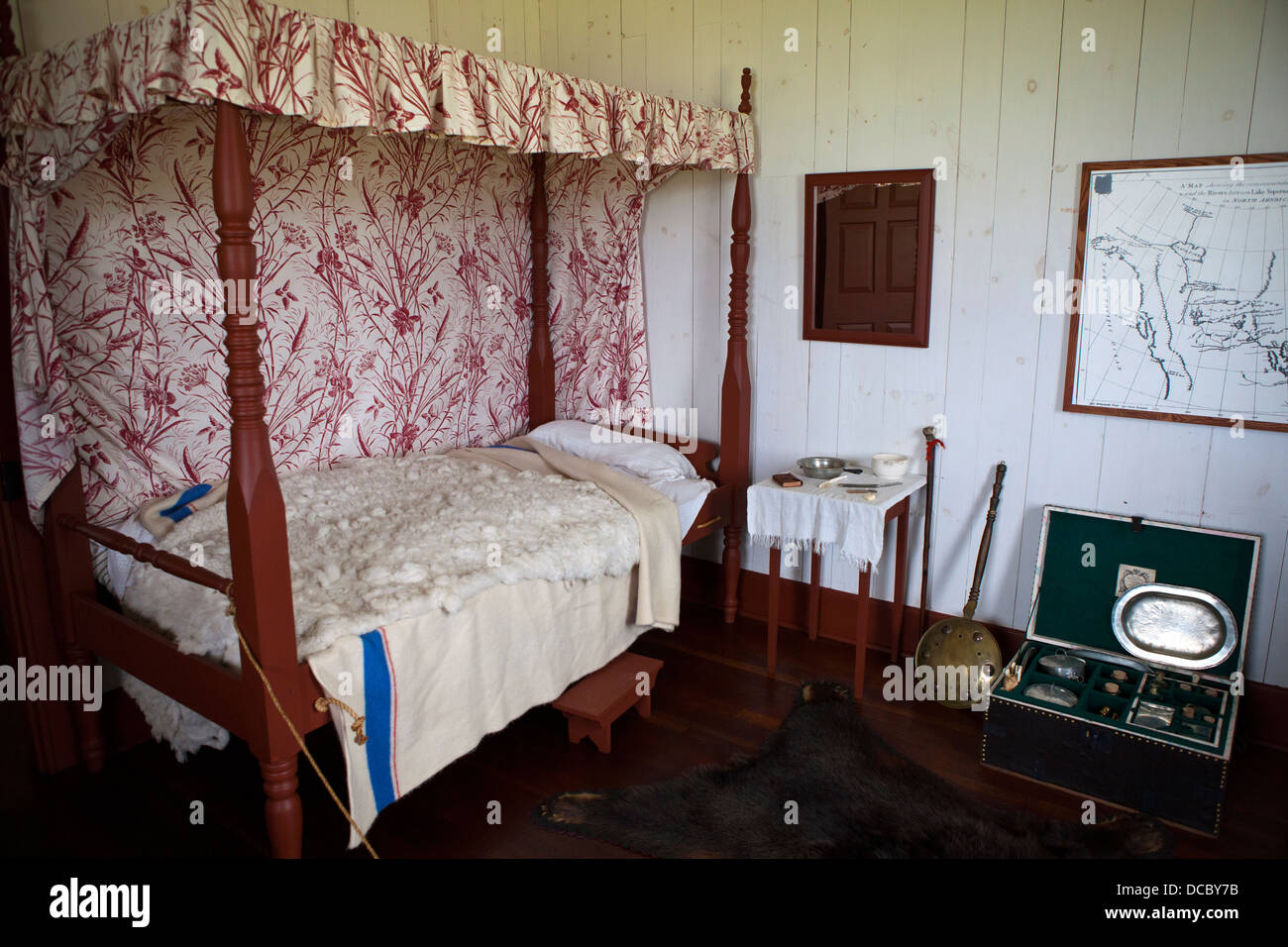 Bedroom inside of the Great Hall, Grand Portage National Monument, Grand Portage, Minnesota, United States of America - Stock Image