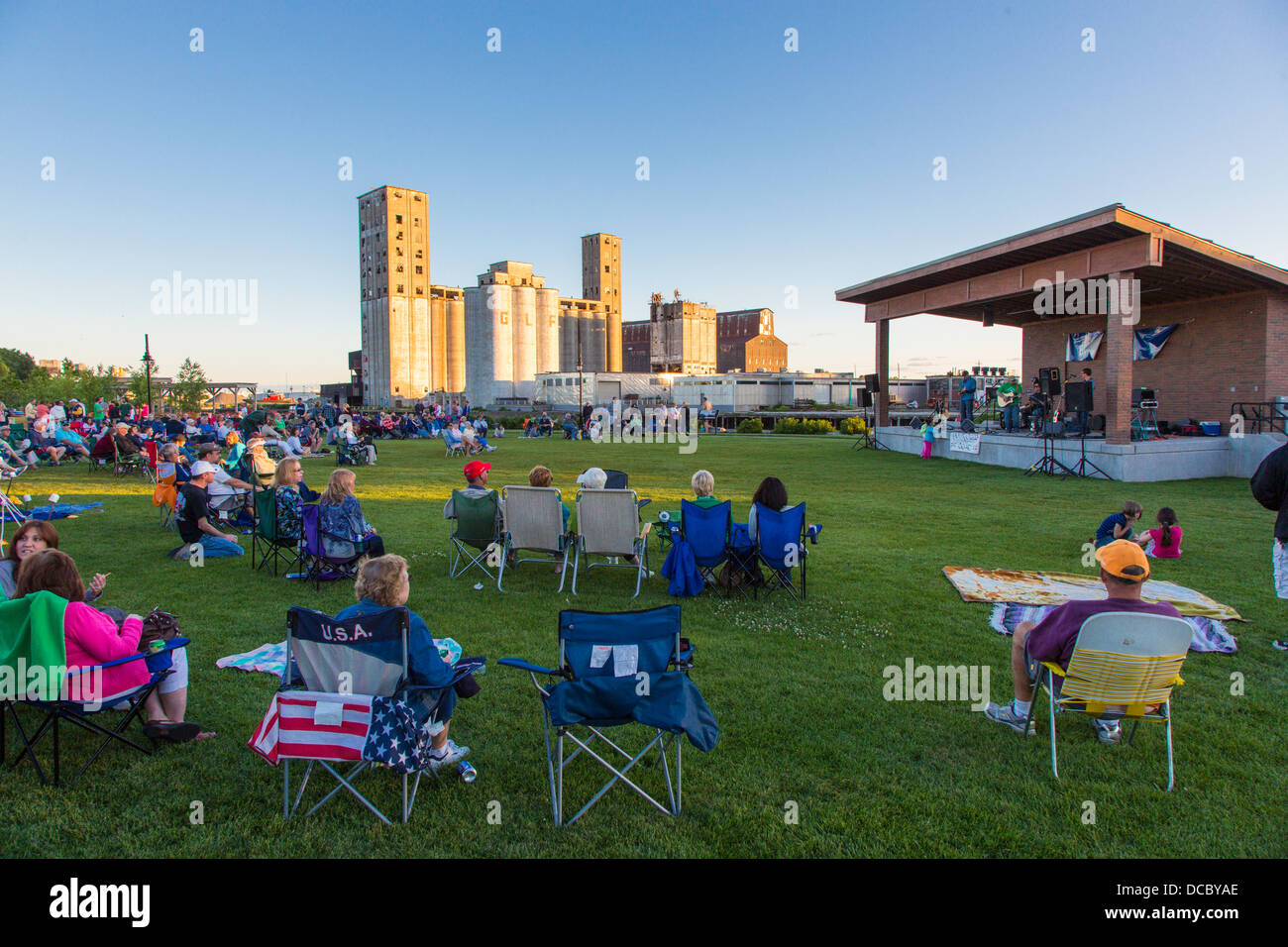 Outdoor music concert at River Fest Park in Buffalo New York United States - Stock Image