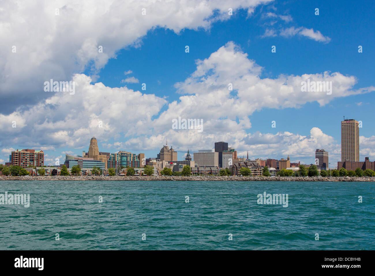 Lake Erie and the skyline of Buffalo New York United States - Stock Image