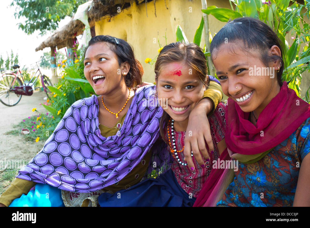 Rural nepal stock photos rural nepal stock images alamy three happy young nepalese girls smiling in a rural terai village nepal stock image ccuart Images