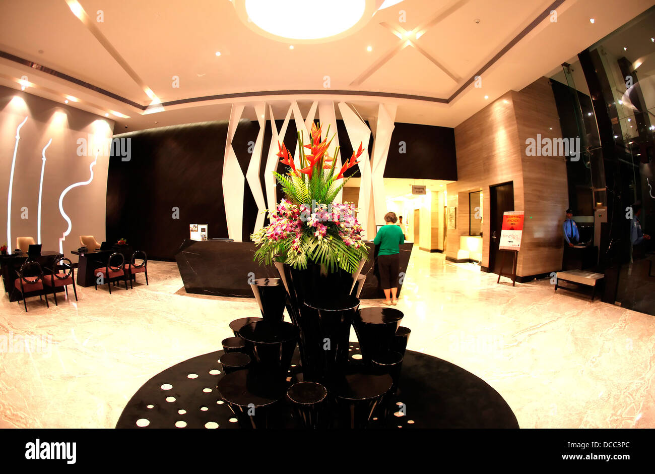 hotel radisson blu interior Agra India hospitality,lobby,fixtures,furniture,modern,elegant,illuminated - Stock Image