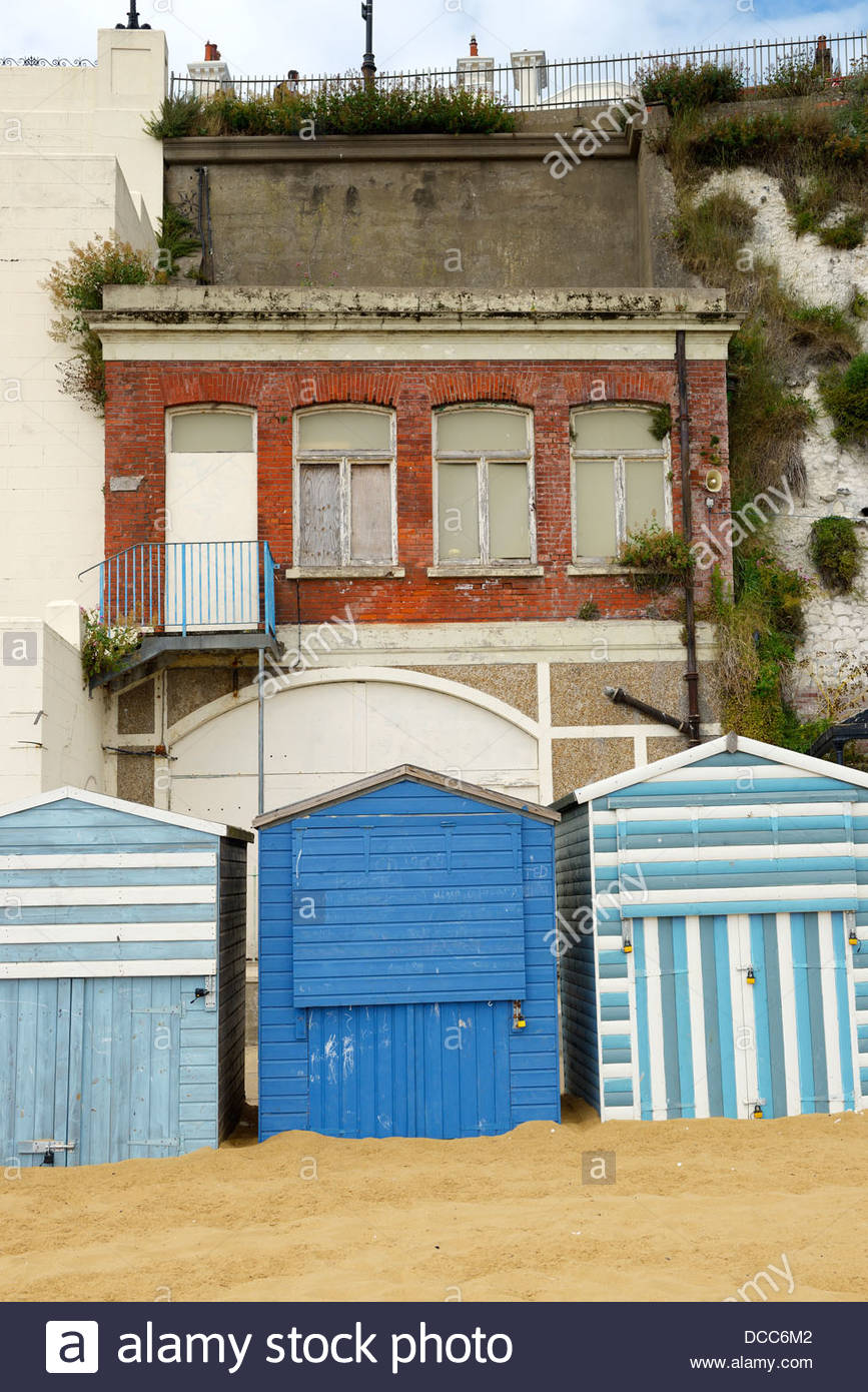 Beach huts and derelict buildings Viking Bay Broadstairs Kent England UK & Beach huts and derelict buildings Viking Bay Broadstairs Kent ...