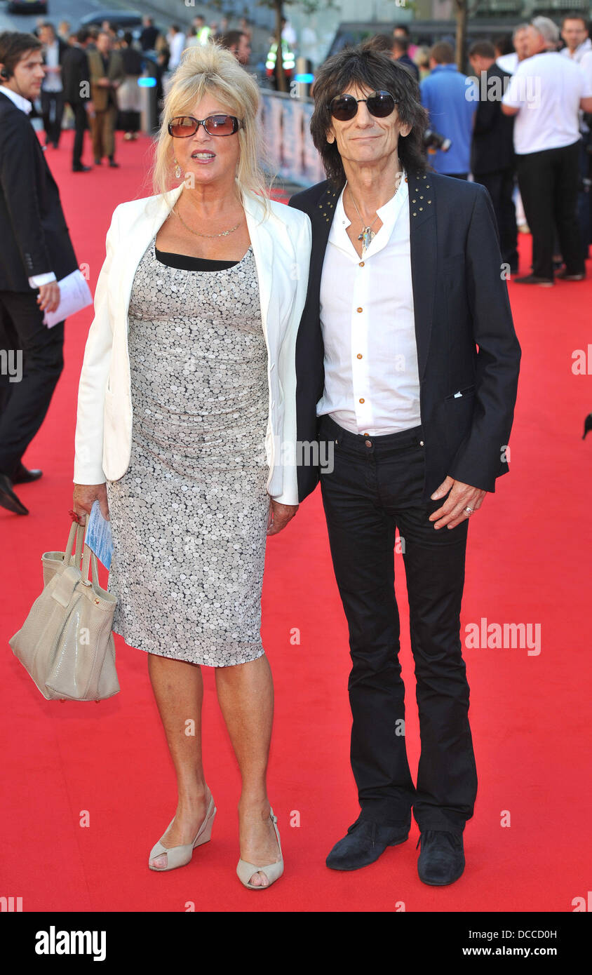 Pattie Boyd and Ronnie Wood George Harrison UK film premiere held at the BFI Southbank - Arrivals. London, England - Stock Image