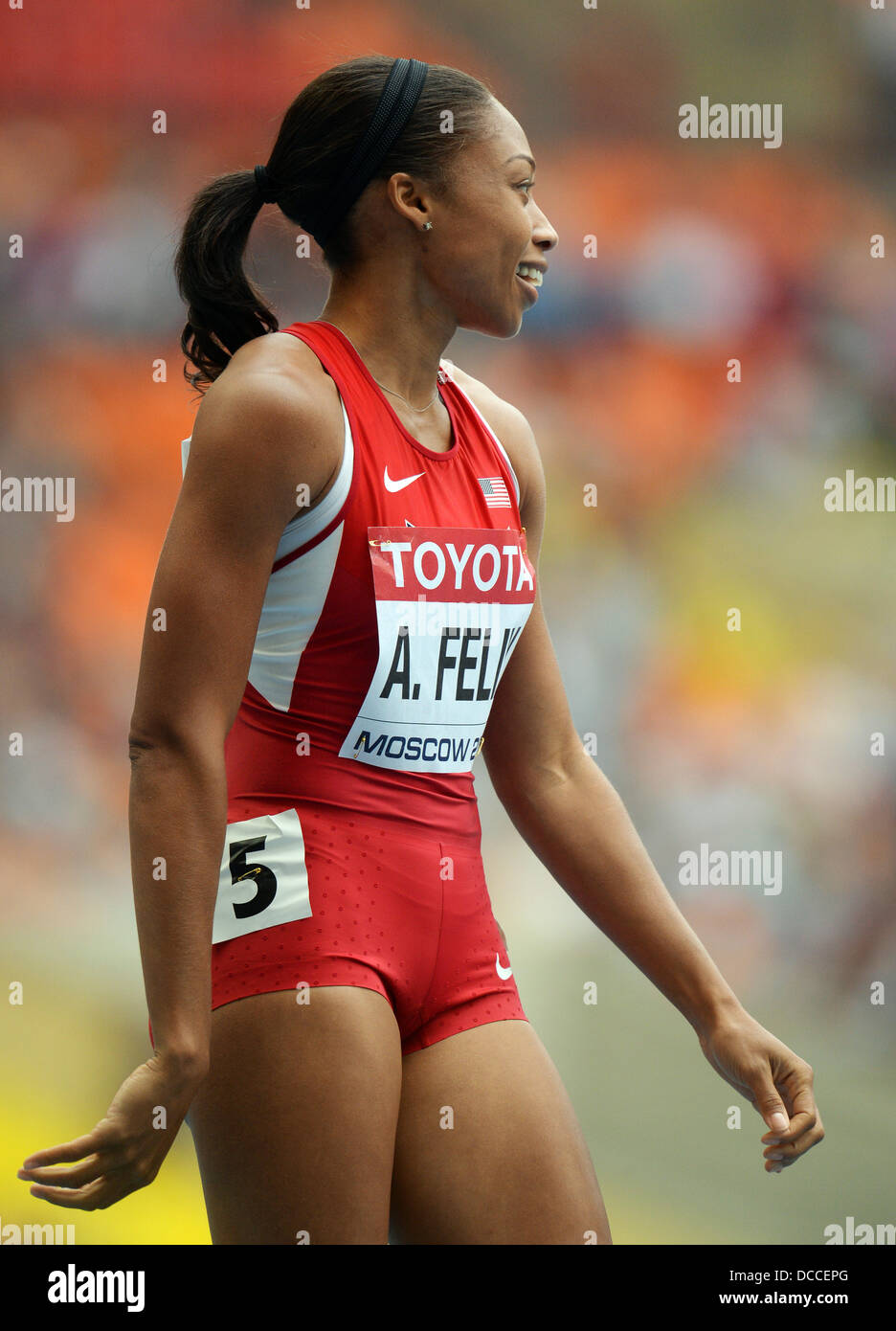 Moscow, Russia. 15th Aug, 2013. Allyson Felix of the US competes in the Women's 200 Metres Qualification at - Stock Image