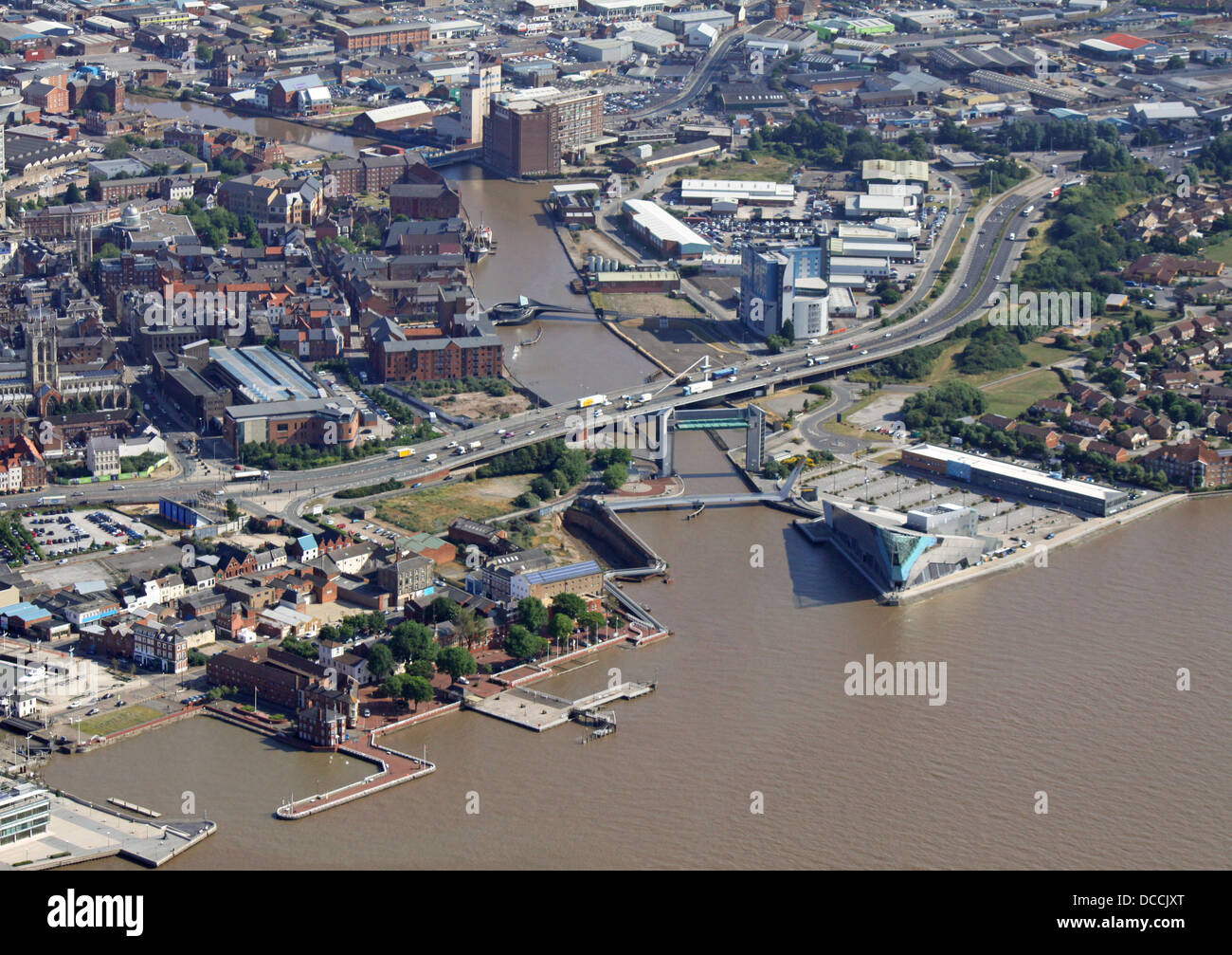 aerial view of the River Hull as it flows into The Humber Estuary - Stock Image