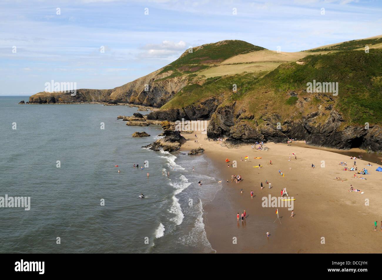 Llangrannog Beach Cardigan Bay Coast Ceredigion Wales Cymru UK GB - Stock Image