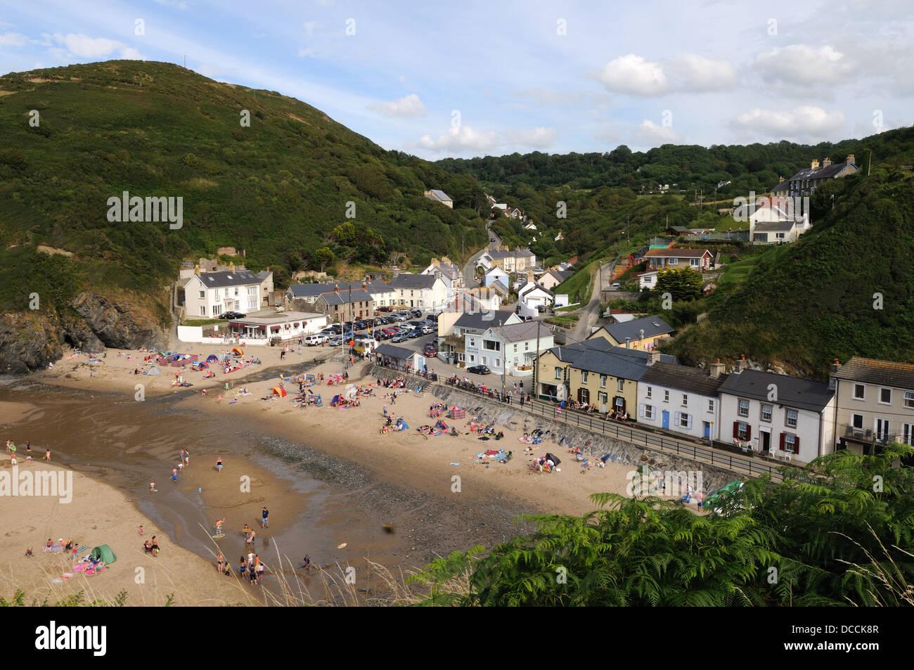 Llangrannog beach and village on the Cardigan Bay Coast Ceredigion Wales Cymru UK GB - Stock Image