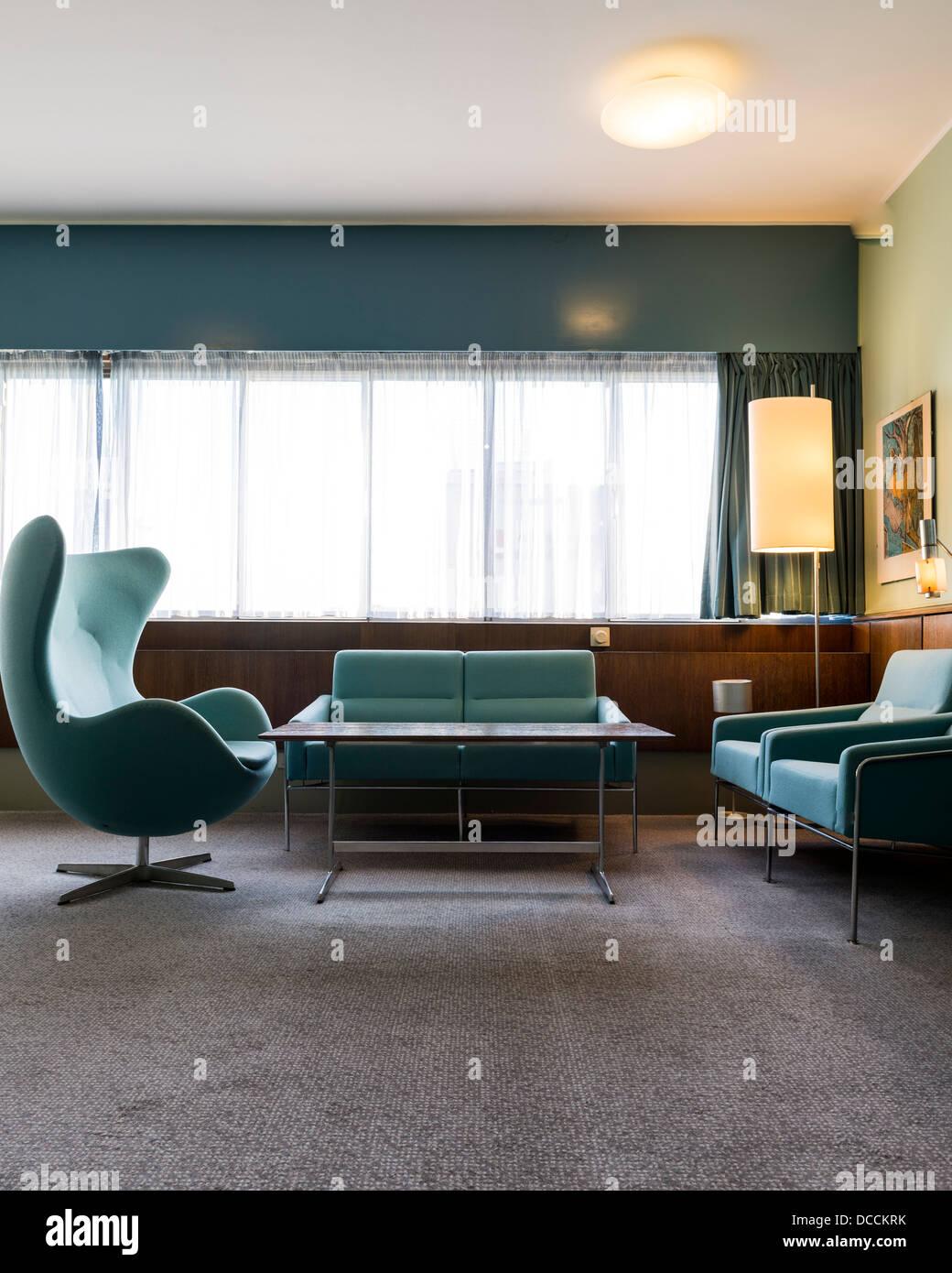 SAS Royal Hotel, Copenhagen, Denmark. Architect: Arne Jacobsen, 1960. Stock Photo