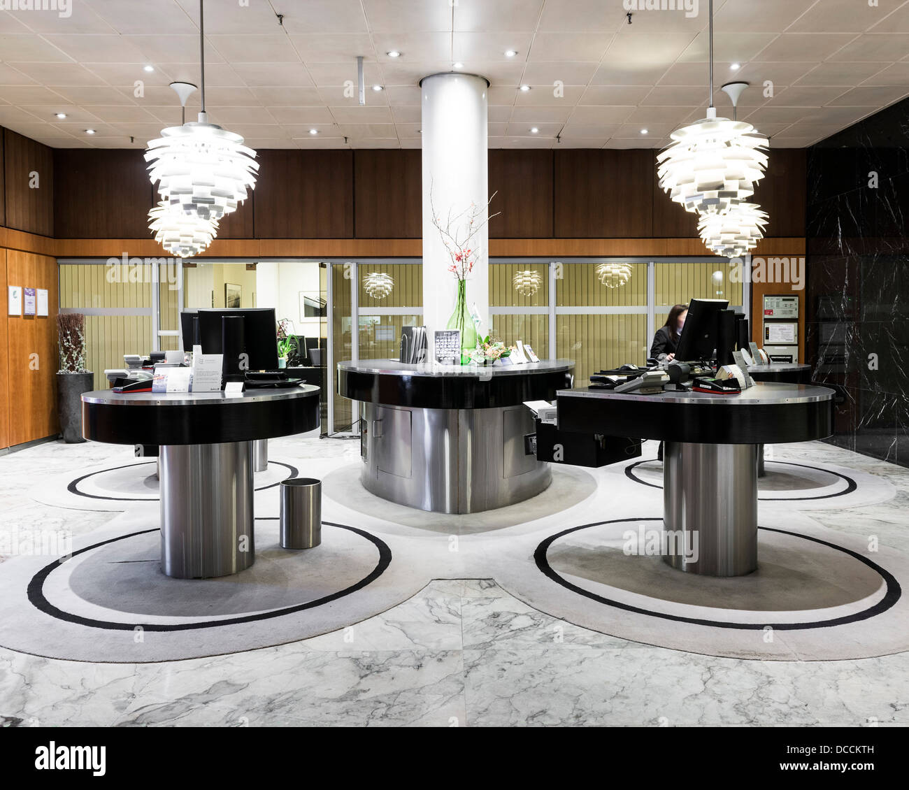 SAS Royal Hotel, Copenhagen, Denmark. Architect: Arne Jacobsen, 1960. Reception desk. Stock Photo