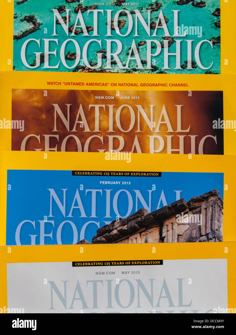 National Geographic magazines - Stock Image