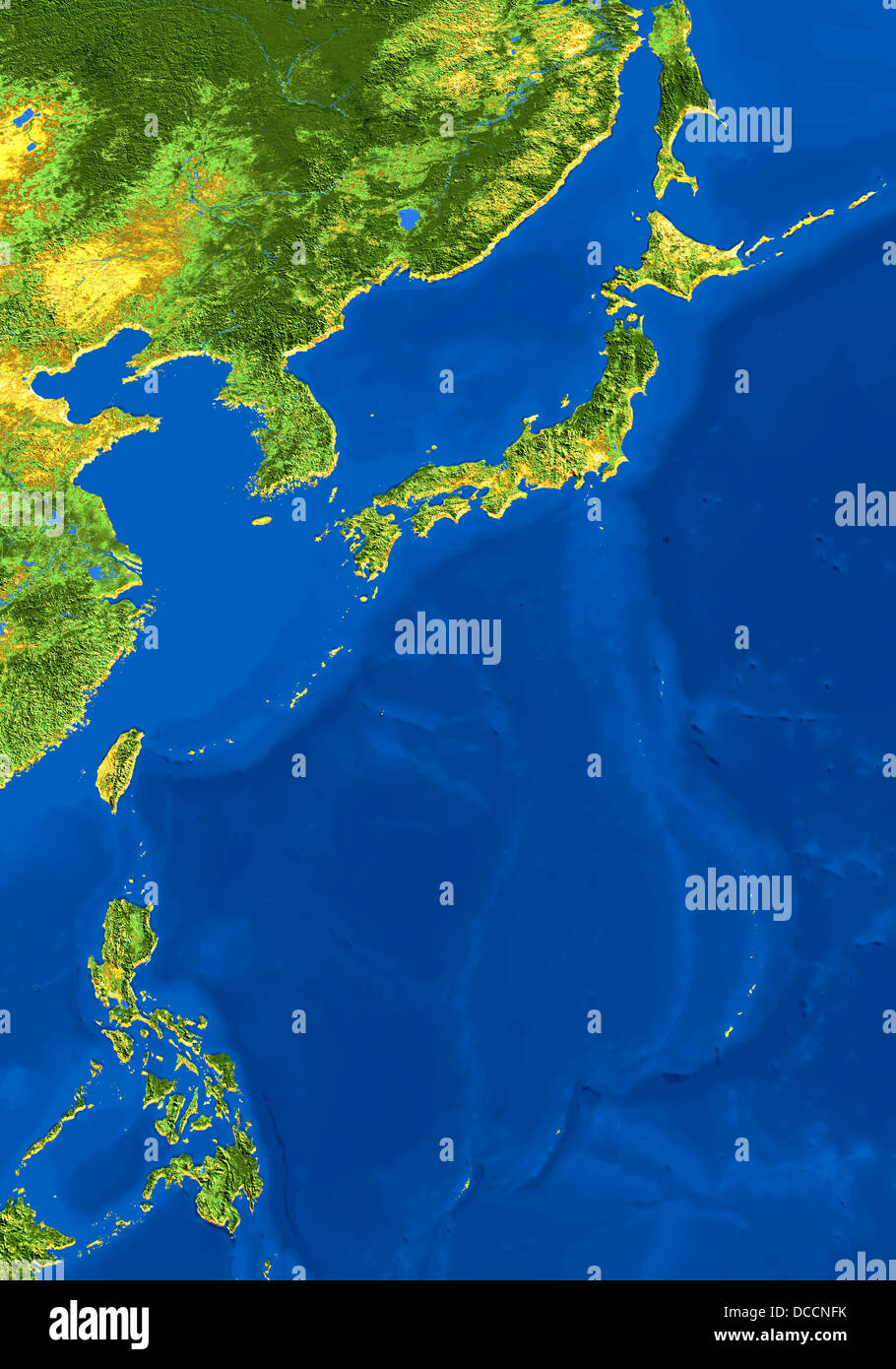 Avhrr satellite image map of japan n korea s korea taiwan the avhrr satellite image map of japan n korea s korea taiwan the phillippines and coastal china with topographic relief gumiabroncs Images