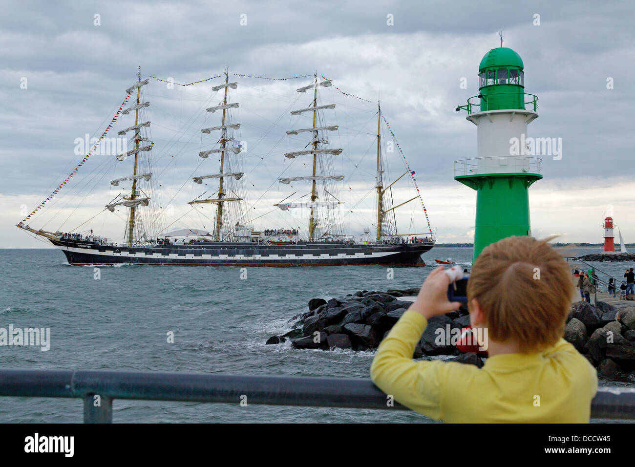 Russian sailing ship, Warnemuende, Mecklenburg-West Pomerania, Germany - Stock Image