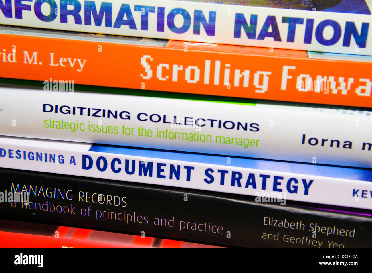 Stack of books on Electronic Document and Records Management Systems (EDRMS) and Information Management - Stock Image