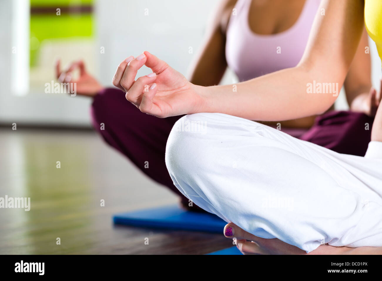Young women doing yoga and meditation in gym for better fitness, caucasian and latina people - Stock Image