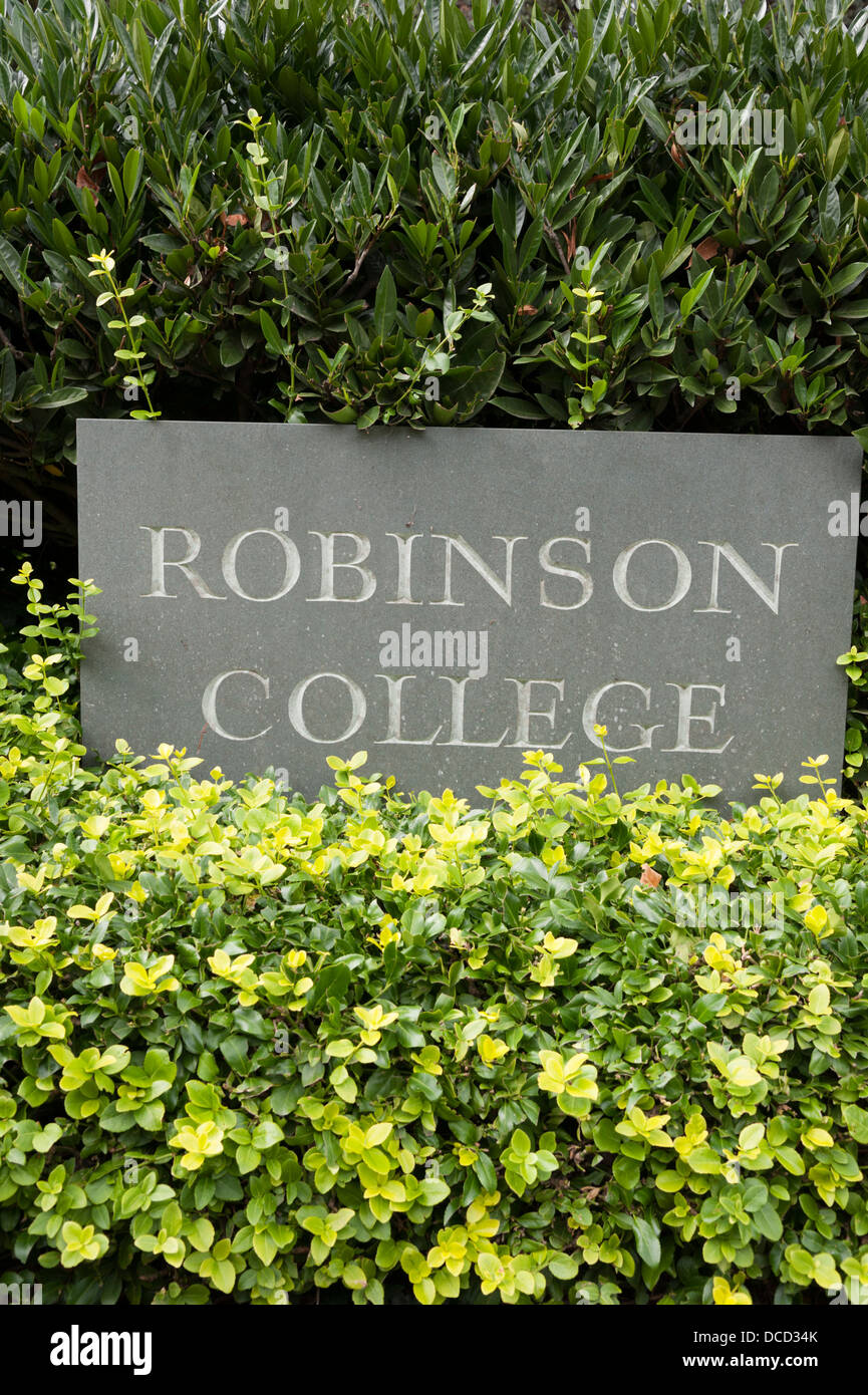 The sign at Robinson College University of Cambridge UK - Stock Image