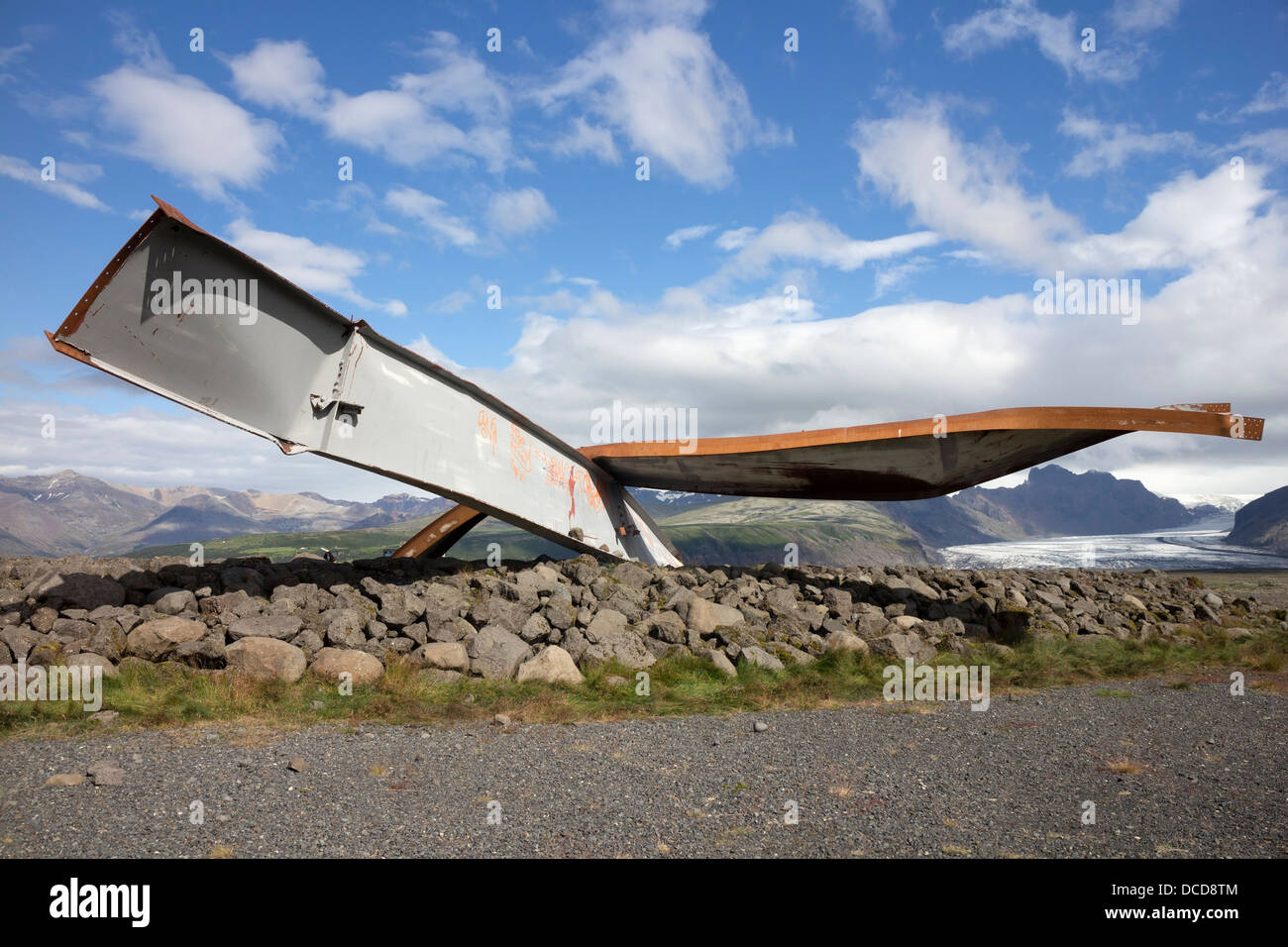 Twisted Metal Girders from the Gigjukvisl Bridge Destroyed by a Flood During a Volcanic Eruption Iceland - Stock Image