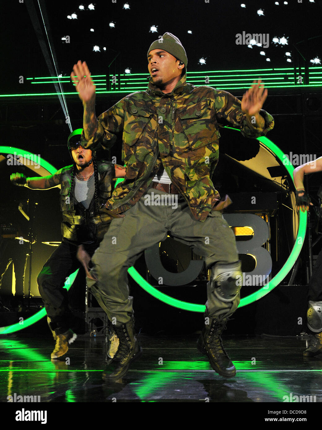 Chris Brown performing live during his F A M E  Tour at the