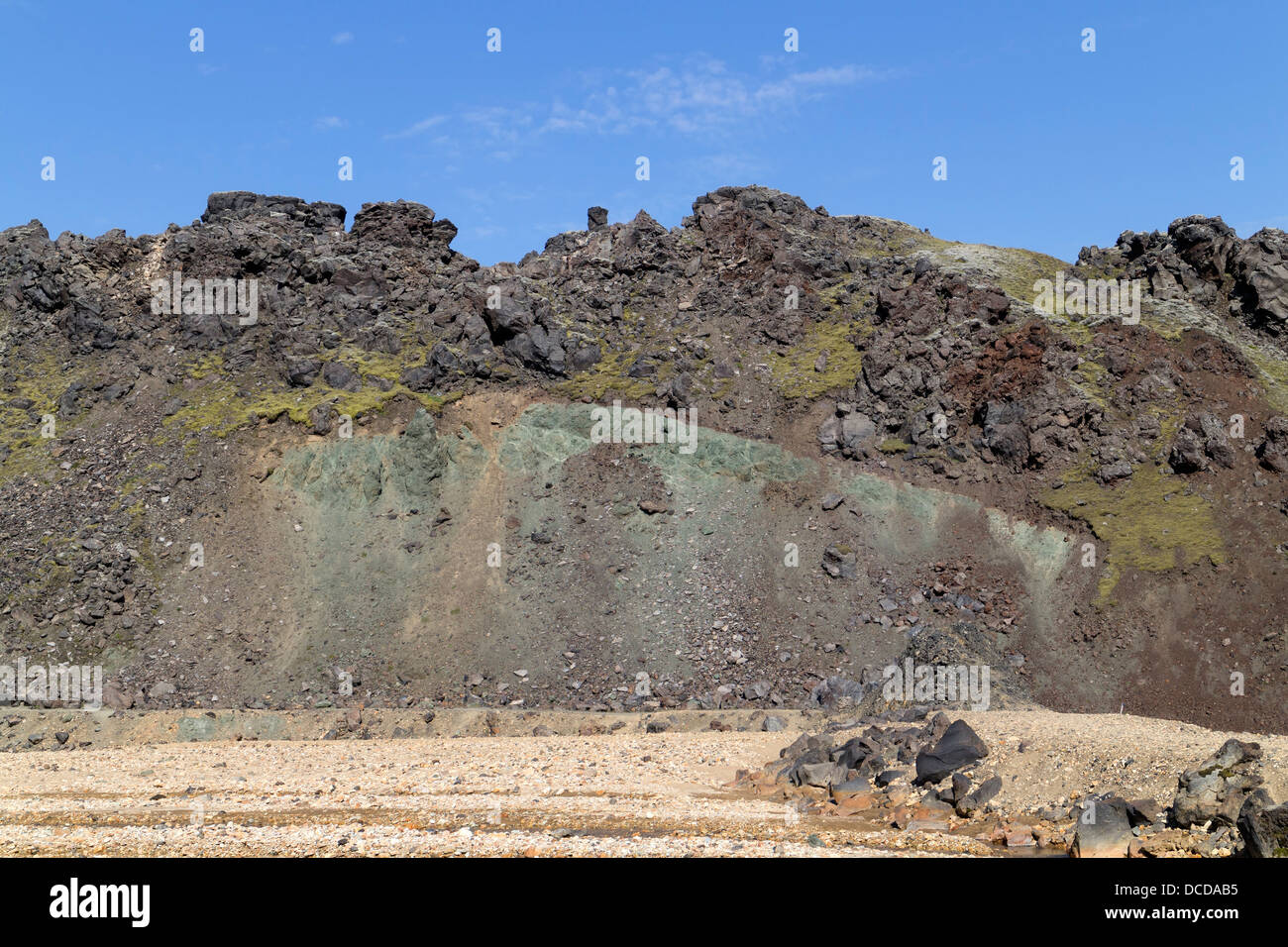 An example of stratified geology on the Laugahraun Lava Field Created During Two Separate Eruptions Landmannalaugar - Stock Image