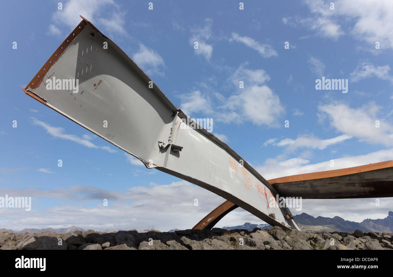 Twisted Metal Girders from the Gigjukvisl Bridge Destroyed by a Flood During a Volcanic Eruption Iceland Stock Photo