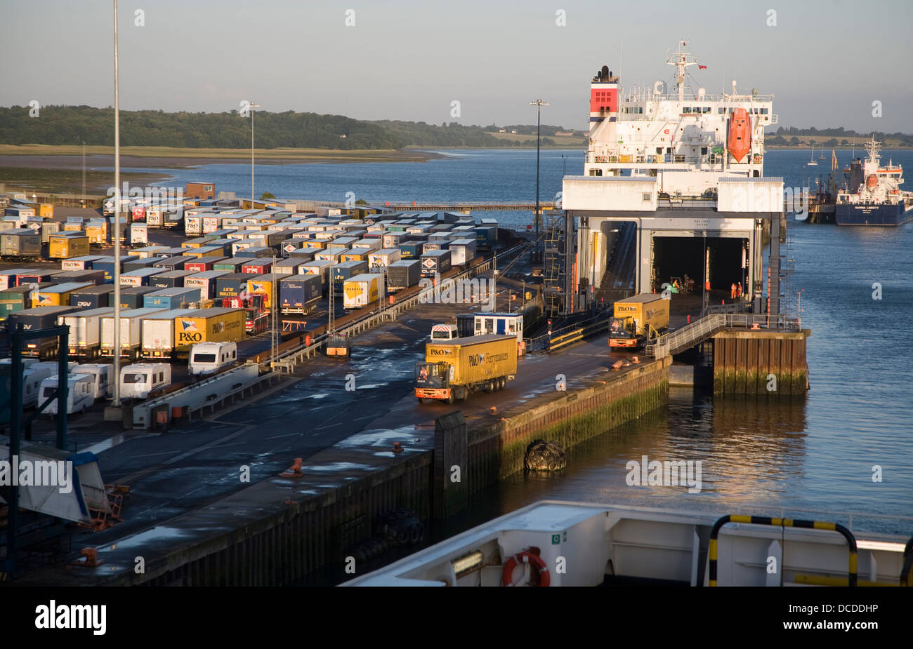Port activity Parkstone Quay Harwich, Essex, England ferry being unloaded Stock Photo