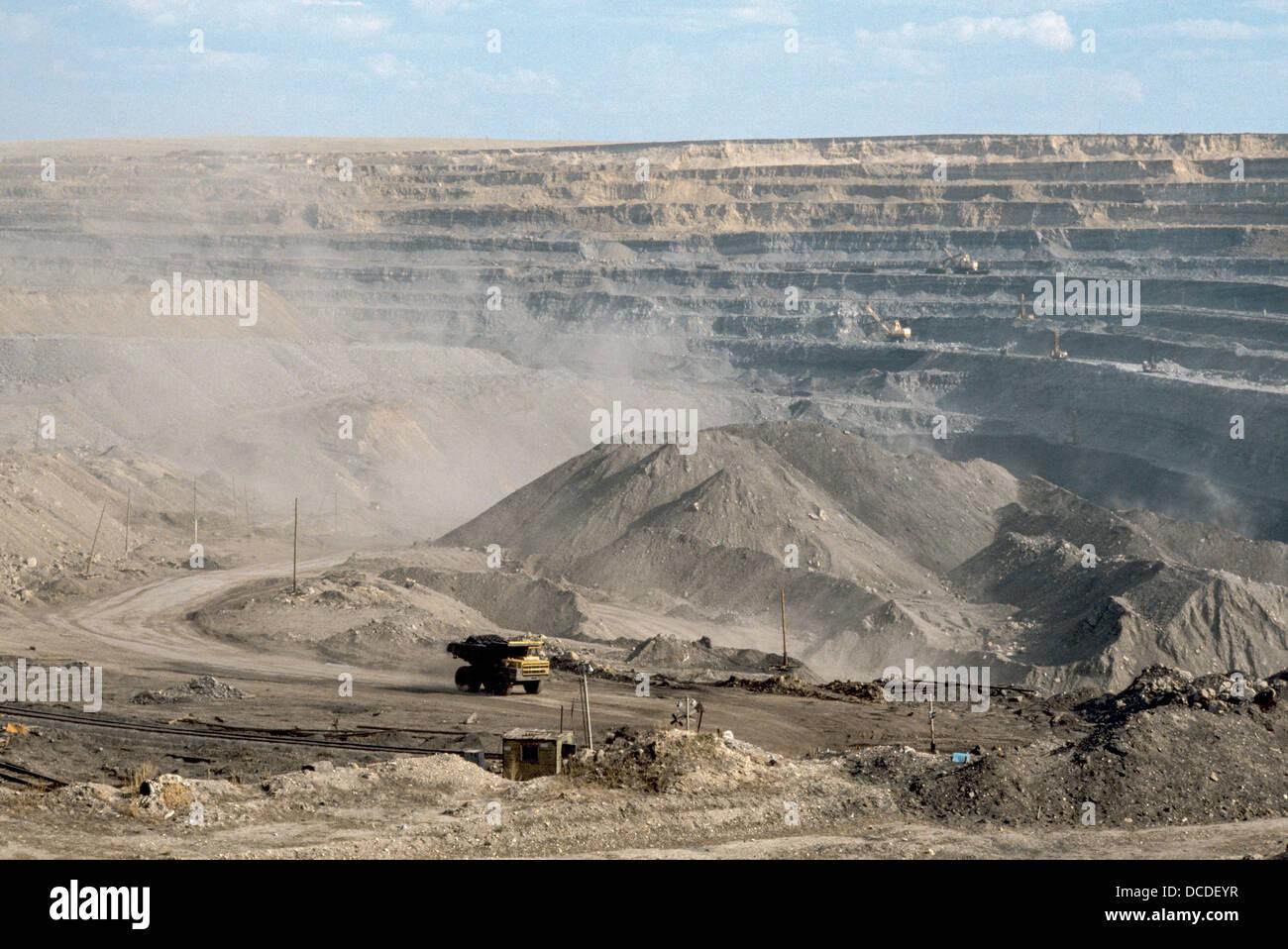 Open caste coal mining. Erdenet. Mongolia - Stock Image