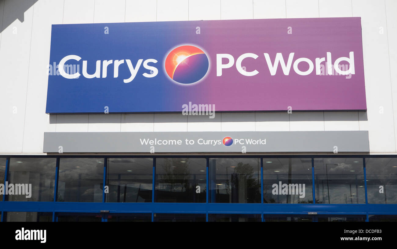 Currys PC World joint store sign Copdock Ipswich Suffolk England - Stock Image