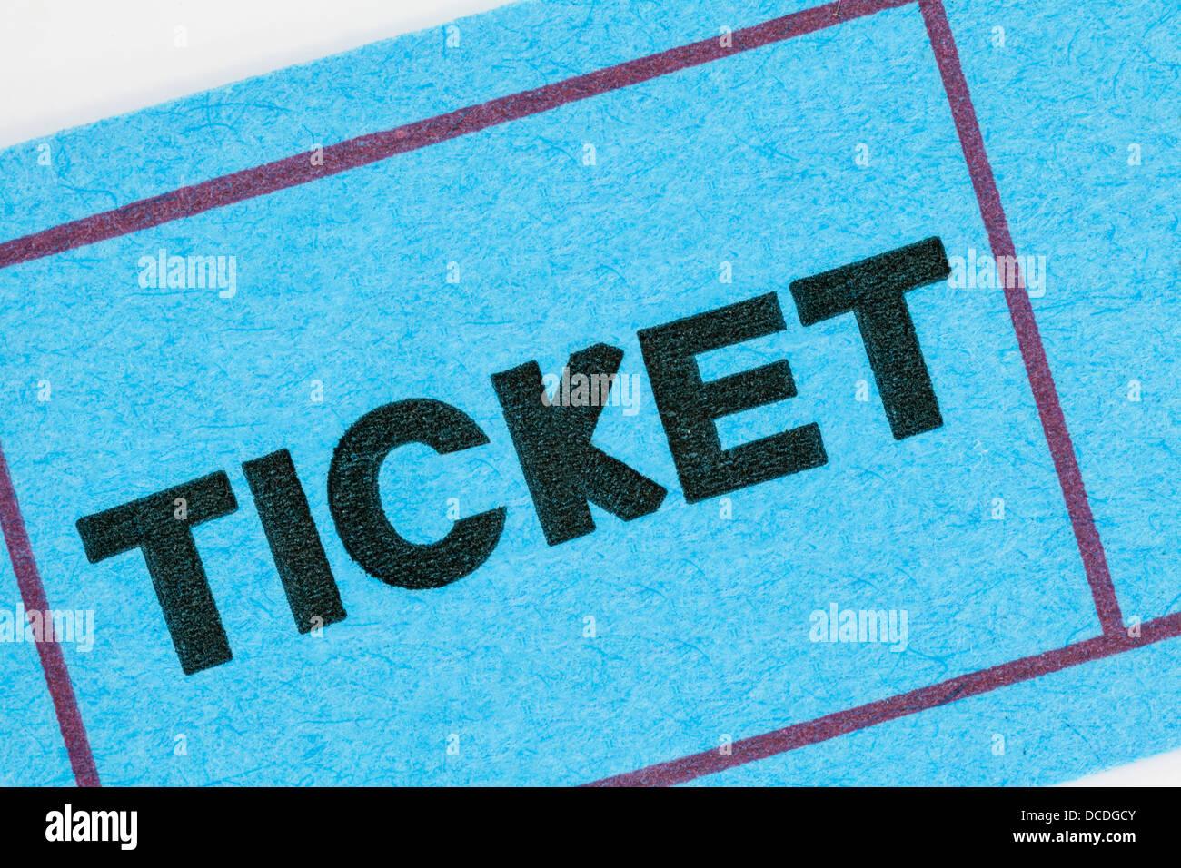 Blue ticket stub macro detail. - Stock Image