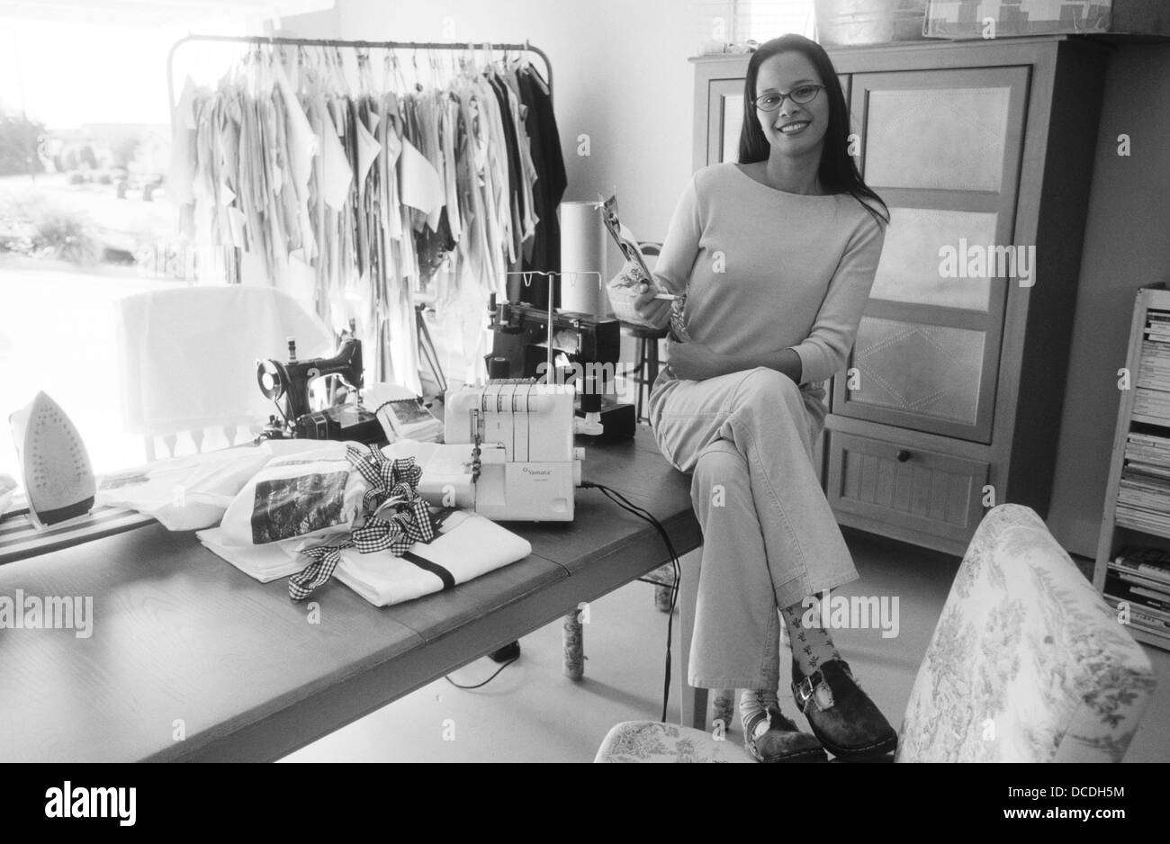 Young Hispanic Fashion Designer Starting Up Her Business In Her Home Stock Photo Alamy