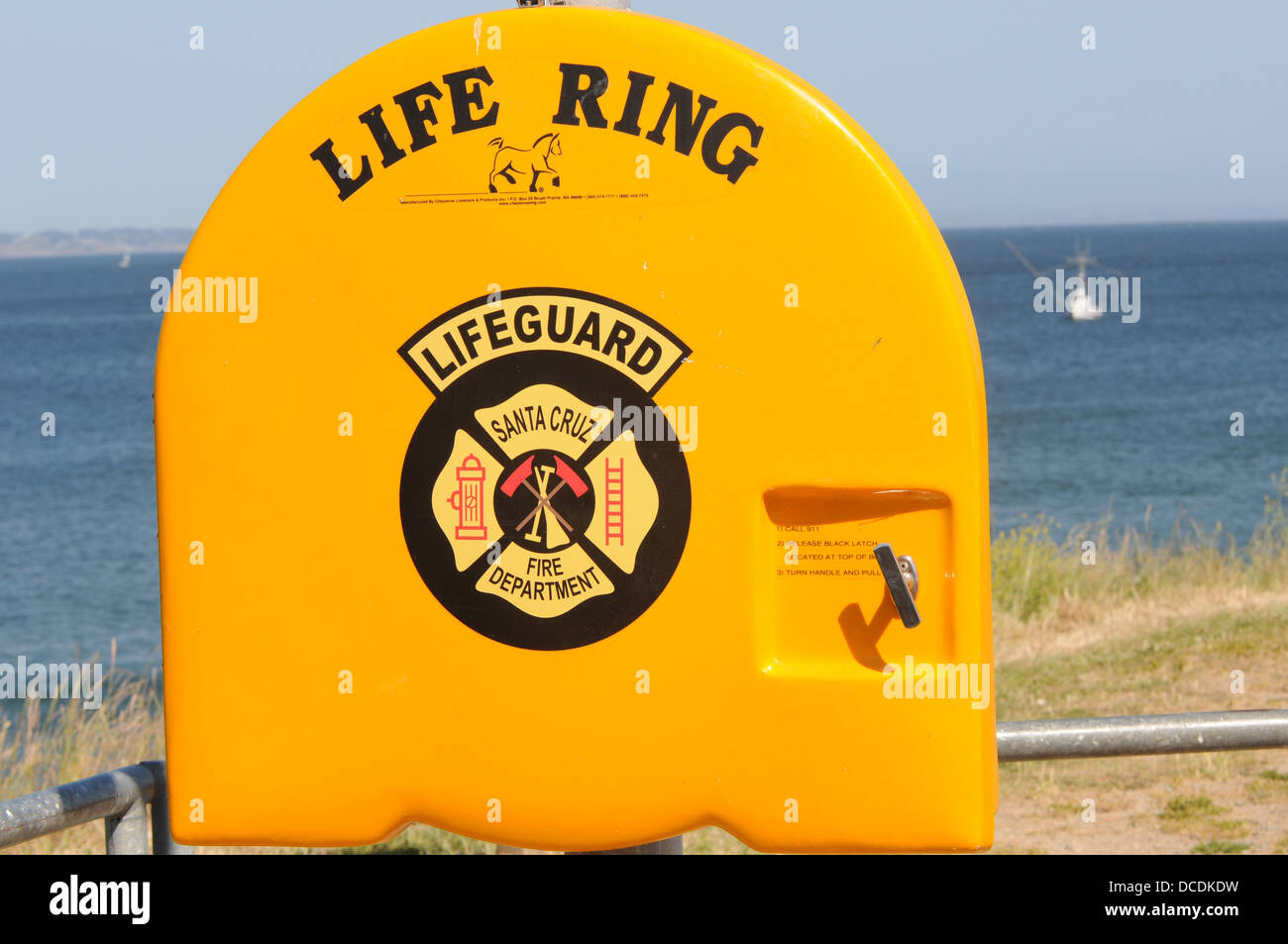 life ring on shore of pacific coast in Santa Cruz California - Stock Image