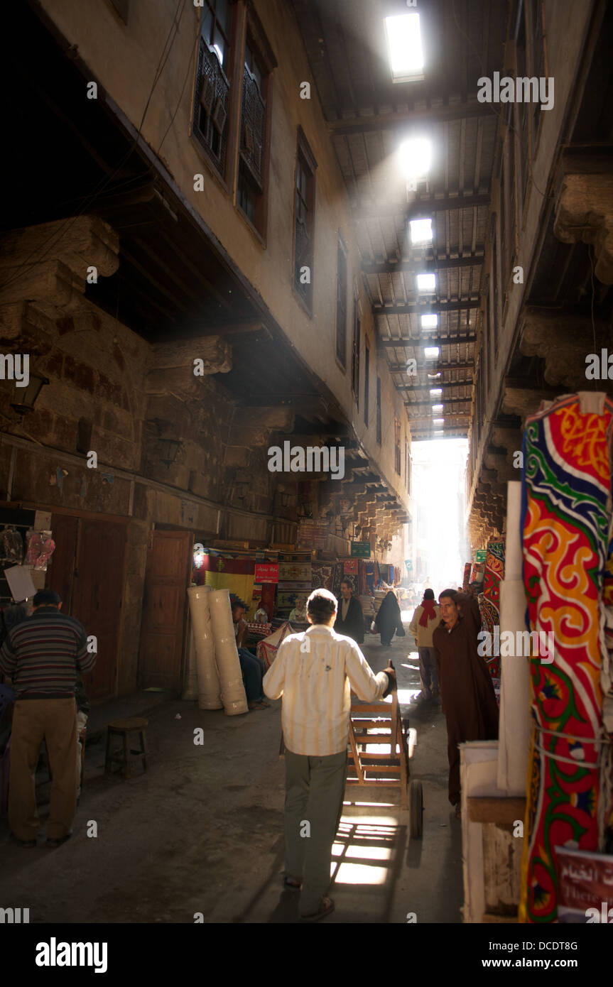 Street of the Tent-Makers, Khan al Khalili market, Cairo, Egypt - Stock Image