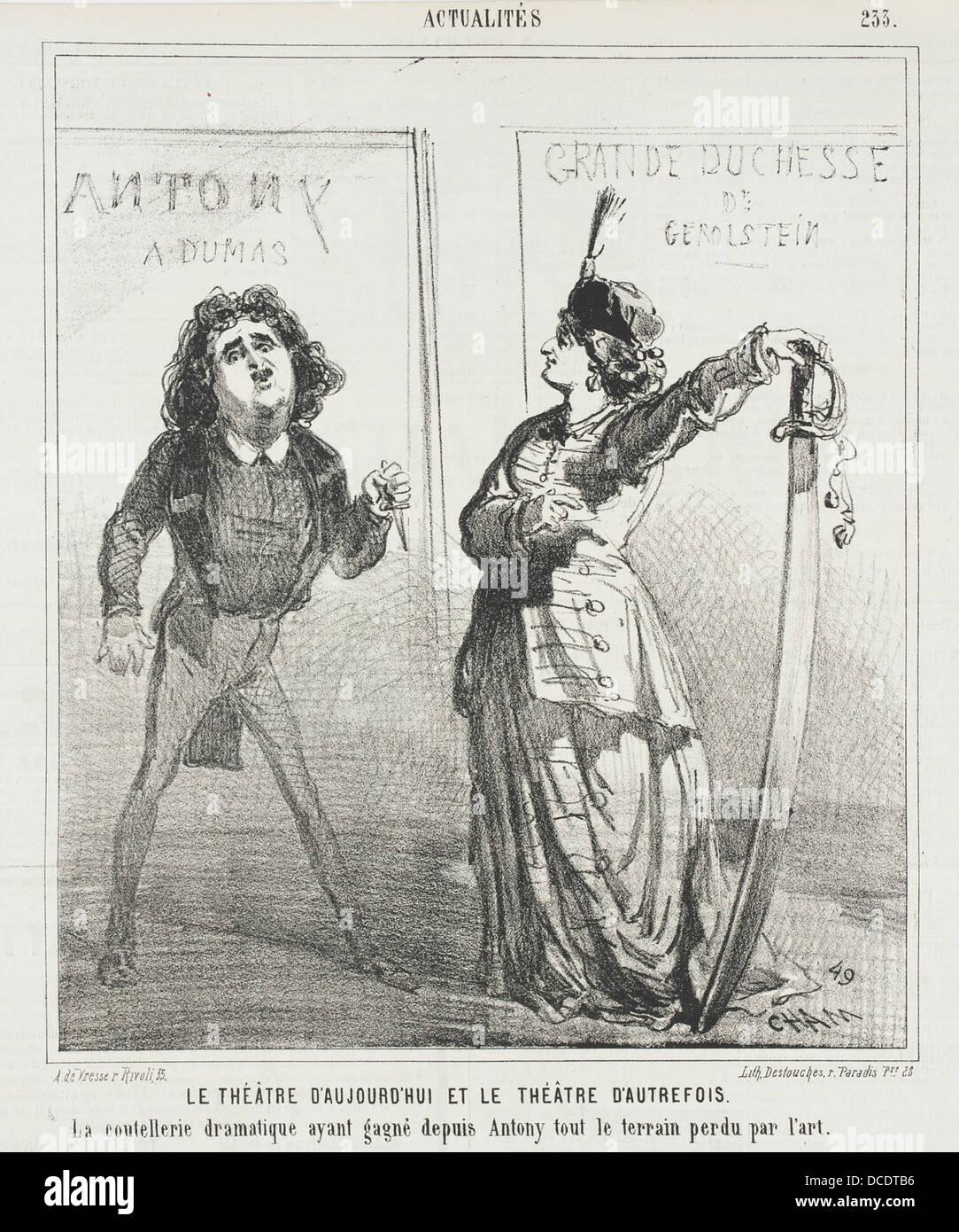 Le Theatre d'aujourd'hui et le theatre d'autrefois. La Coutellerie dramatique ayant gagne depuis Antony - Stock Image