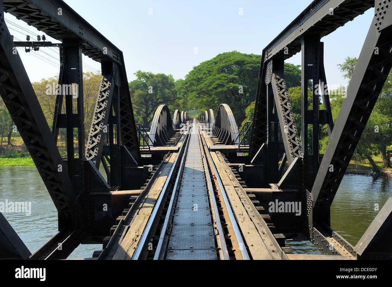 Bridge through river Kwai on Death Railway between Thailand and Burma - Stock Image