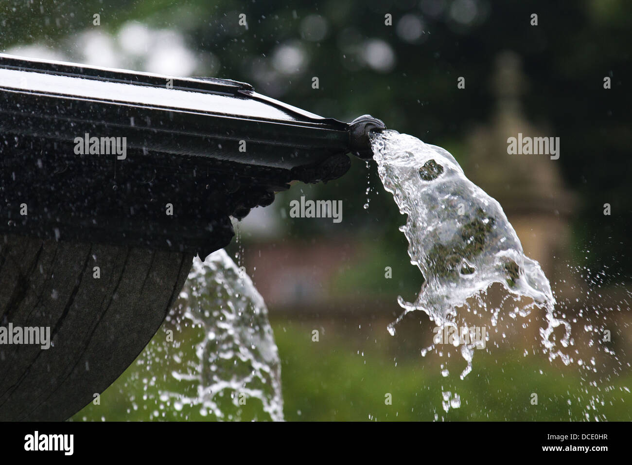 Close up of water spraying out of a fountain Stock Photo