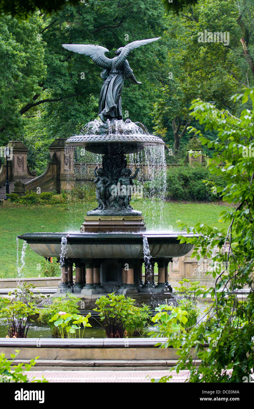 Angel of the Waters Fountain, Central Park, NYC Stock Photo