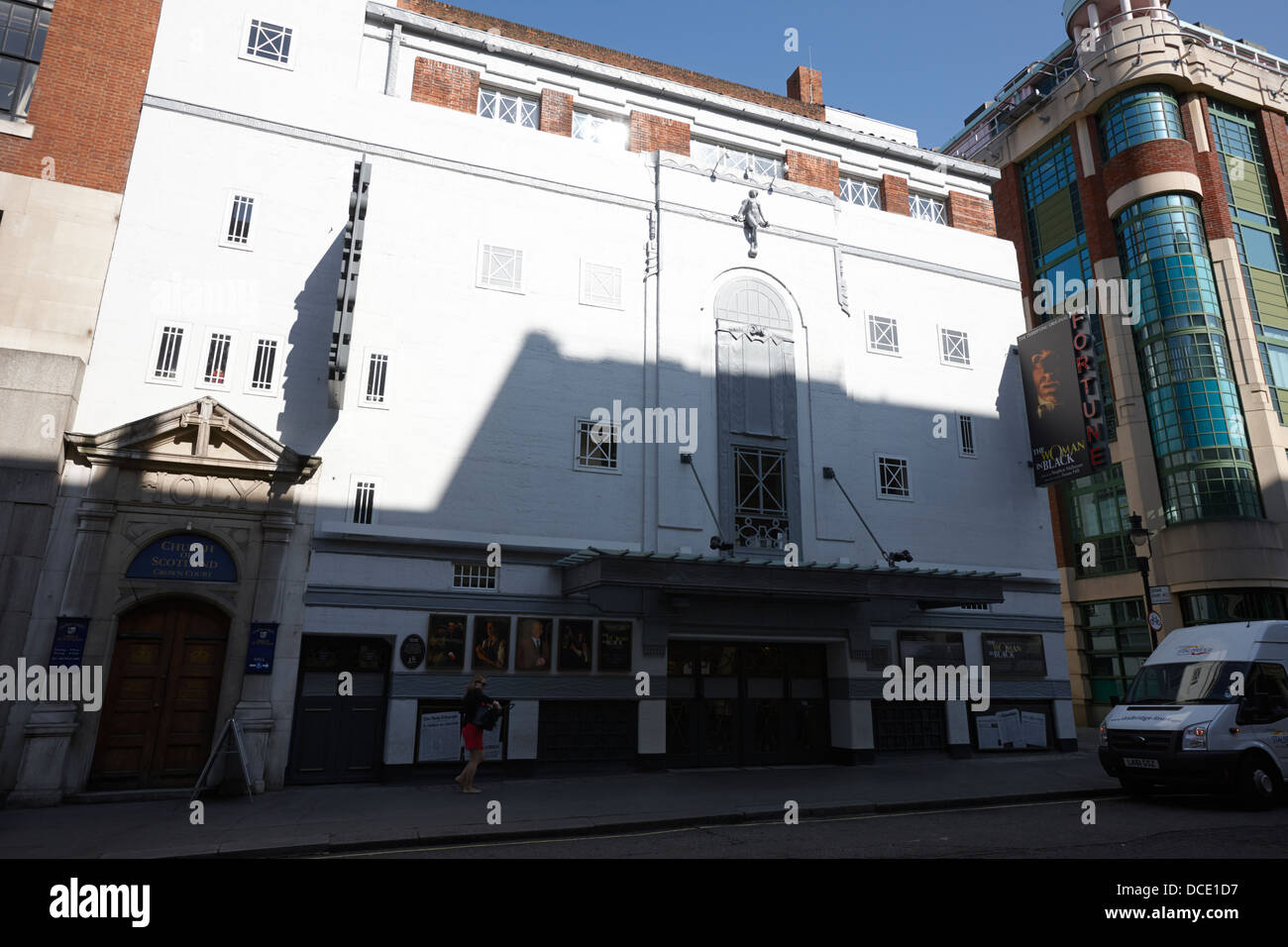 the fortune theatre showing the woman in black and entrance to crown court church London England UK - Stock Image