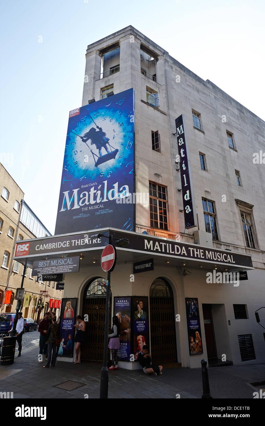 The Cambridge Theatre showing matilda the musical London England UK - Stock Image