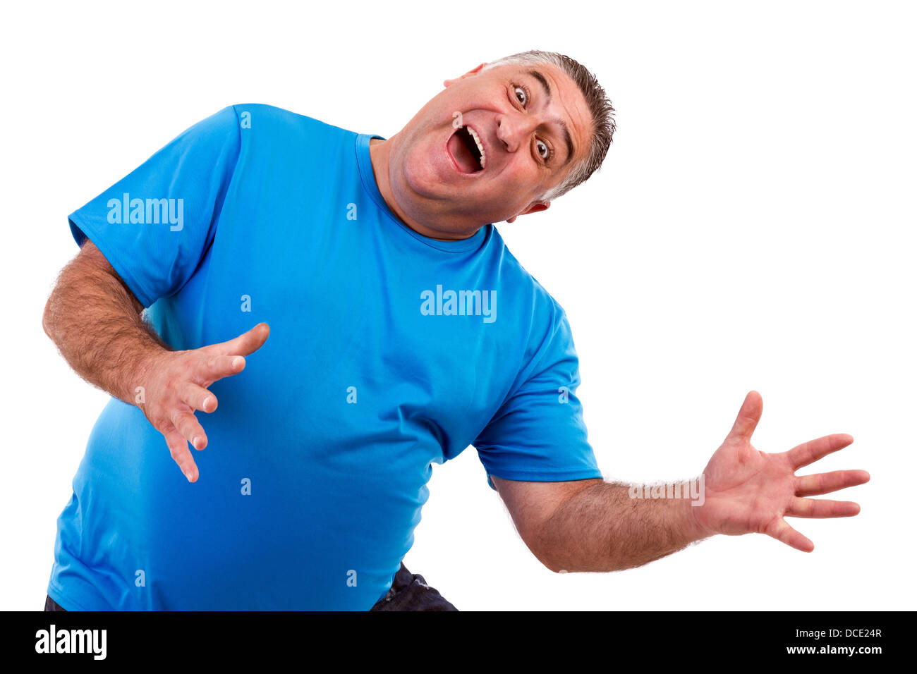 Portrait of an expressive man joking, isolated white background - Stock Image
